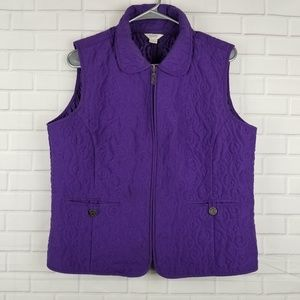 Christopher & Banks Purple Full Zip Vest Sz Medium